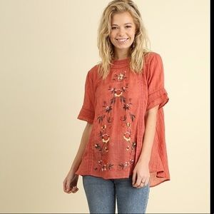 Umgee Boxy Floral Embroidered Top Crocheted Accent